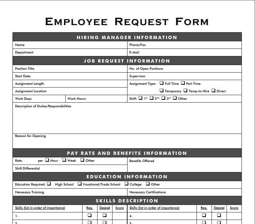 Employee Request Form